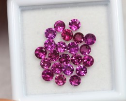 NR Lot 05 ~ 3.09Ct 3mm Natural VS Clarity Vivid Violet Rhodolite Garnet