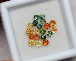 NR Lot 12 ~ 2.05Ct 2mm Natural Multi-color Sapphire