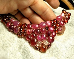472 Tcw. Sapphires, Rubies, Garnets Sterling Silver Necklace - Gorgeous