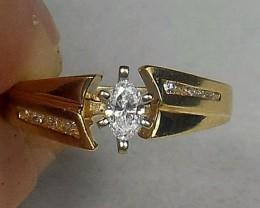 (B2) Brilliant $2400 0.44ct Designer Marquise Diamond Engagement Ring