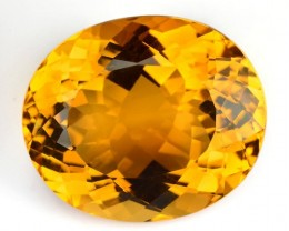 ~BRILLIANT CUT~ 24.40 Cts Natural Citrine Golden Orange Oval Brazil