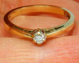 9K Gold Ring with Diamond - 0.15 ct US Size 7