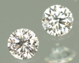 0.16 CTW PAIR DIAMONDS - 2.7MM EACH - F COLOR - VS+ CLARITY!