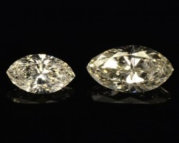 0.16 Cts Natural Pale White Diamond Marqise 2 Pcs Africa