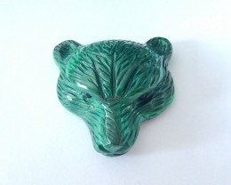 180.5ct Natural Malachite Handcarved Bear Head Necklace Pendant (18012307)