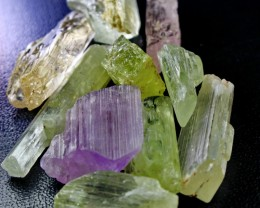 530 CT Natural - Unheated Multi Color kunzite  Crystal Rough lot