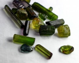 49 CT Natural - Unheated Green Tourmaline Crystal Lot