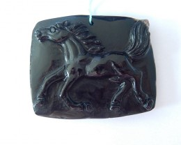 224.5ct Natural Obsidian Handcarved Running Horse Necklace Pendant,Black St