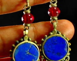 47 CT Natural lapis lazuli Carved earrings Special Shape