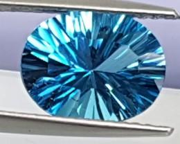 2.87cts, Blue Topaz, Custom cut,  Clean, Calibrated