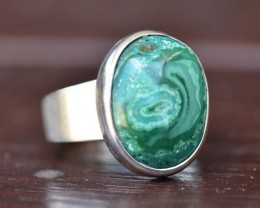 Malachite Silver Ring - Size 8 (MAL1)