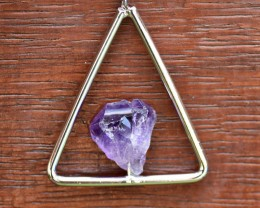 Natural Amethyst Necklace - Triangle Geometric Shape (AMT3)