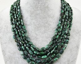 Genuine 515.00 Cts 5 Line Untreated Emerald Beads Necklace