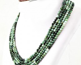 Genuine 395.00 Cts Untreated Emerald Round Beads Necklace