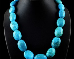 Genuine 1155.00 Cts Turquoise Beads Necklace