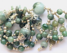428.5Ct Genuine Burmese Type-A Jadeite Jade 57-Beads necklace