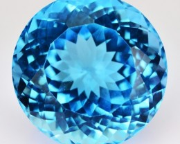 Nice Round 20.42 Cts Natural Blue Topaz 15 mm Round Brazil Gem