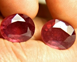 18.24 Tcw. Fiery Earth Mined Ruby Pair - Superb
