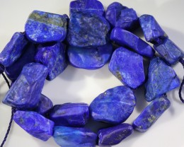 324.95 CTS NATURAL  LAPIS LAZULI BEADS STRANDS-A GRADE  -DRILLED  [STS960]