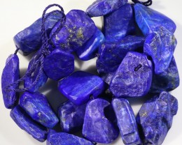 359.30 CTS  NATURAL LAPIS LAZULI BEADS STRANDS-A GRADE  -DRILLED  [STS961]
