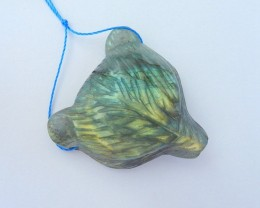 104ct Natural Flashy Labradorite Handcarved Bear Head Necklace Pendant (180