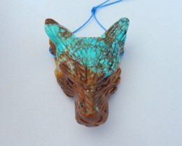 Spirital Wolf Head Pendant,Natural Turquoise Handcarved Wolf Head Necklace