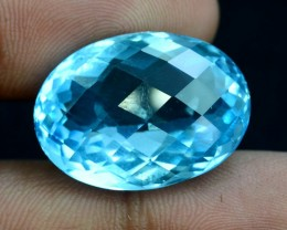 31 CTS briolette Both Sides Oval Shape Cut Lovely Blue Topaz Loose Gemstone