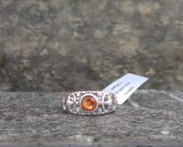 Sunstone filigree Sterling silver ring #101
