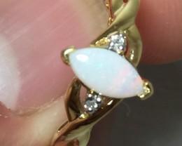 (B4) Cert. $850 Nat 0.48ct White Australian Opal & Diamond Ring