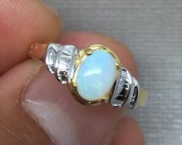 (B4) Sublime Cert. $900 Nat 0.97ct Australian Opal Ring