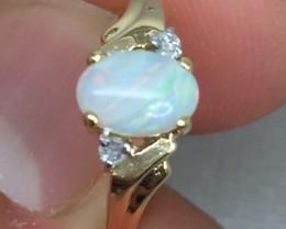 (B4) Fancy $950 Cert Nat 0.82ct Australian Opal & Diamond Ring