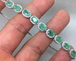 Superb Nat 49.5tcw. Top Rich Green Brazilian Emerald CZ Bracelet