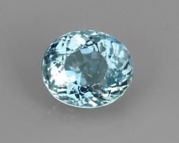 1.25 Cts Sparkling Luster - Oval Gem - Natural Top Blue Aquamarine