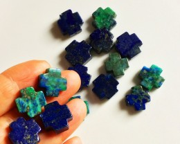 15 Lapis and Malachite Cross Beads NO RESERVE AUCTION