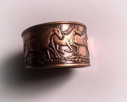 ADJUSTABLE SOLID COPPER RING - HORSES EMBOSSED WORK