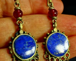 50.80 CT Natural lapis lazuli Carved earrings Special Shape