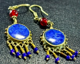 50 CT Natural lapis lazuli Carved earrings Special Shape