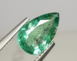 2.87 cts Luster Green Pear Cut Natural Emerald