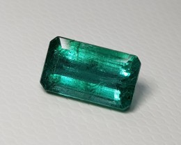 2.20 cts Fantastic Luster Green Octagon Cut Natural Emerald