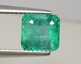 2.54 cts Fantastic Luster Green Square Cut Natural Emerald
