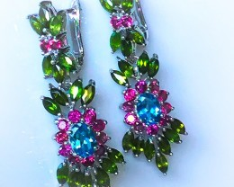 For Mark Stunning Stunning Stunning Topaz Garnet Diopside Gem Earrings