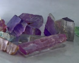 244 CT Natural - Unheated Multi Color kunzite  Crystal Rough lot