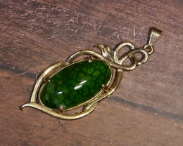 57.10 CT Beautiful Pendant Green Goblin Dragon Skin Chalcedony Agate
