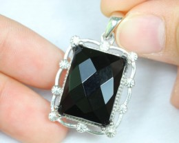NR Lot 11 ~ 53.28Ct Natural Black Onyx 925 Sterling Silver Pendant