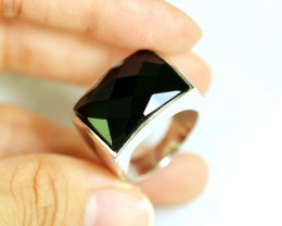 NR Lot 12 ~ 60.32Ct Natural Black Onyx 925 Sterling Silver Ring Sz9.75