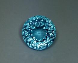 11.58 ct Fantastic Concave Round Cut Gem Natural Blue Topaz