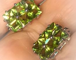 Peridot Gem Earrings Sterling Silver 14kt White Gold