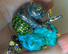 A Wombat with Green Pants on Turquoise Brooch