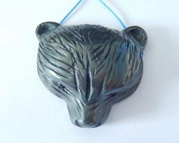 New Design,Bear Pendant,214ct Natural Hematite Handcarved Bear Head Necklac