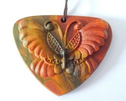 Beautiful Butterfly Carving,Natural Muti Color Picasso Jasper Carved Flying